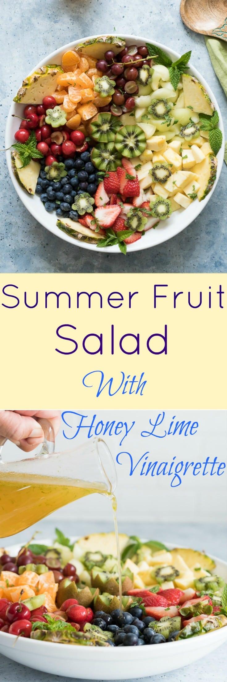 Summer Fruit Salad with Honey Lime Vinaigrette www.pineappleandcoconut.com #Discoverworldmarket #ad