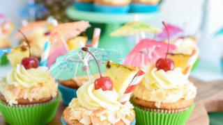 Piña Colada Cupcakes with Haupia Filling and Piña Colada Frosting