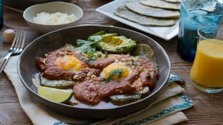 Mexican Breakfast - Huevos Rancheros with Grilled Nopales