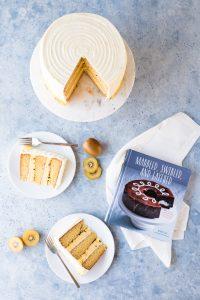 Mango Passion Fruit Italian Cream Cake with Kiwi Buttercream