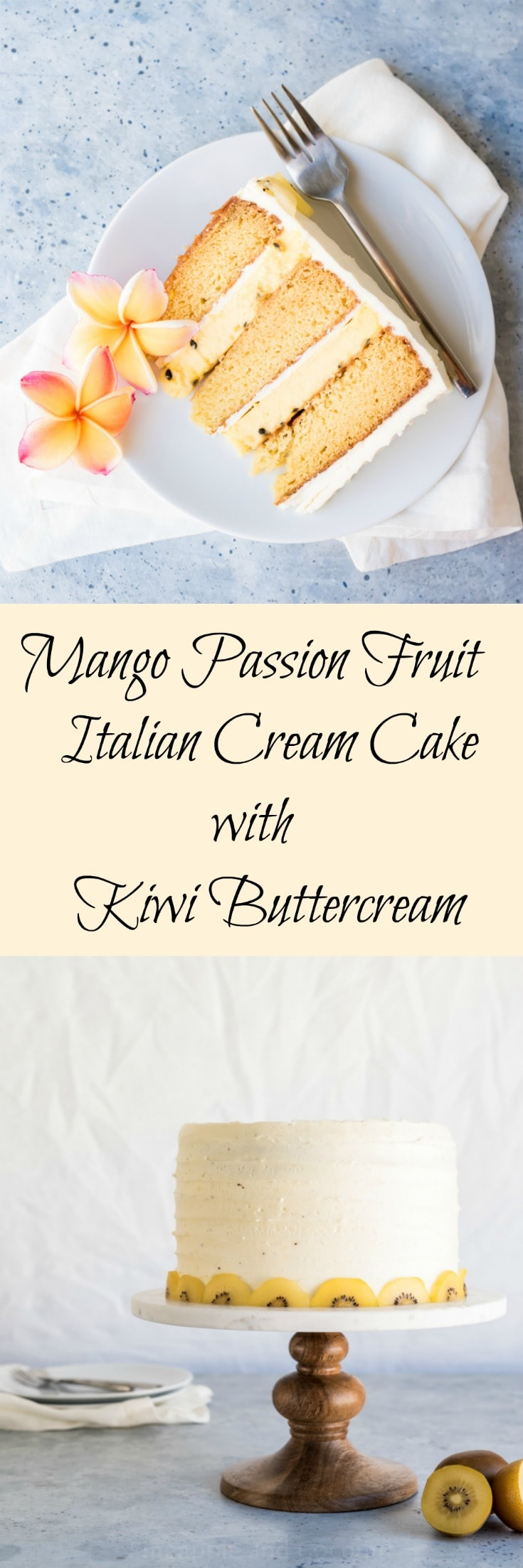 Mango Passion Fruit Italian Cream Cake with Kiwi Buttercream www.pineappleandcoconut.com #marbledswirledandlayered
