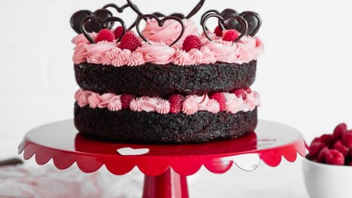 Valentine's Day Chocolate Raspberry Cake www.pineappleandcoconut.com #DiscoverWorldMarket #Ad
