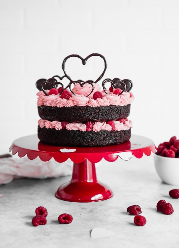 Valentine's Day Chocolate Raspberry Cake www.pineappleandcoconut.com #DiscoverWorldMarket #Ad