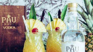 Maui Sunset Cocktail (Pineapple Hibiscus Vodka Cocktail) for Earth Day with PAU Maui Vodka