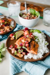 Grilled Sockeye Salmon with Summer Stone Fruit Salsa www.pineappleandcoconut.com