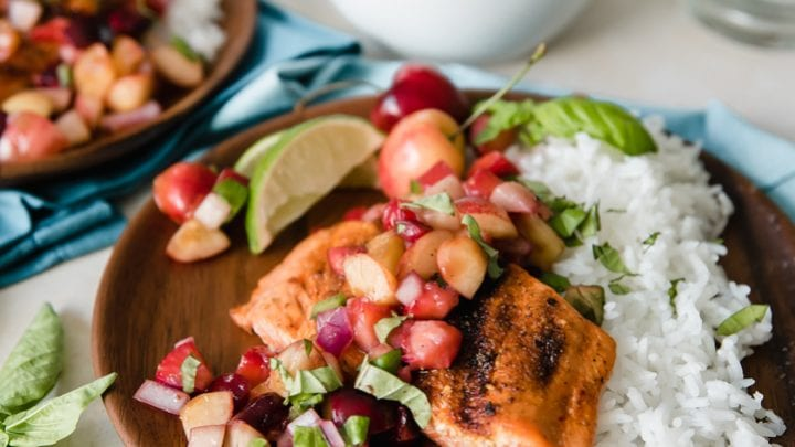 Grilled Sockeye Salmon with Summer Stone Fruit Salsa www.pineappleandcoconut.com
