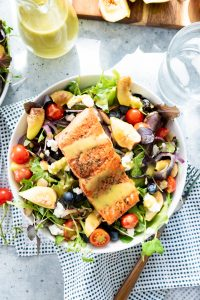 Seared Sockeye Salmon Salad with Figs and Honey Lemon Basil Vinaigrette