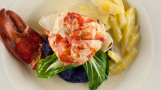 Coconut Butter Poached Lobster with Pineapple Green Curry Sauce
