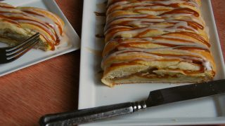 Pumpkin Butter And Brown Sugar Ginger Poached Pear Braided Pastry with Spiced Caramel and Vanilla glazes