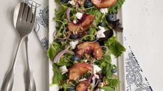 Grilled White Peach and Chicken Salad With Blueberry Basil Vinaigrette