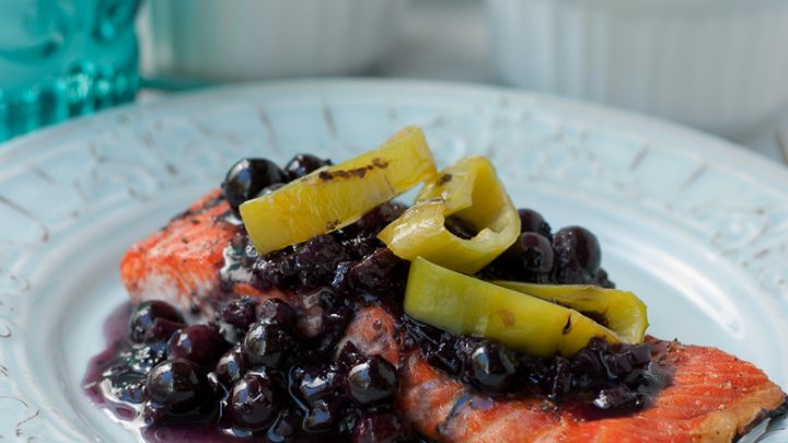 Grilled Wild Copper River Salmon With Blueberry Hatch Chili Sauce