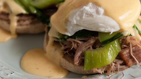 Kalua Pork Eggs Benedict With Sriracha Hollandaise Sauce