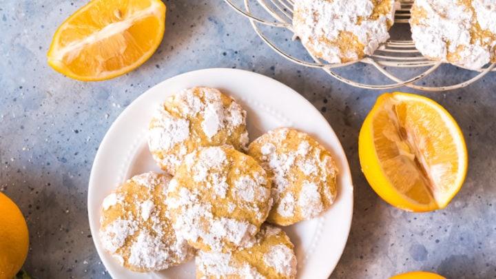 Ginger Cardamom Meyer Lemon Crinkle Cookies