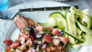 Perfectly Grilled Pork Chops with Blueberry Peach Basil Salsa