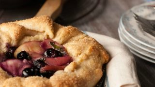 Rustic White Peach, Blueberry and Basil Skillet Galettes