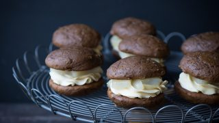 Gingerbread Whoopie Pies with Maple Poached Pears and Maple Buttercream