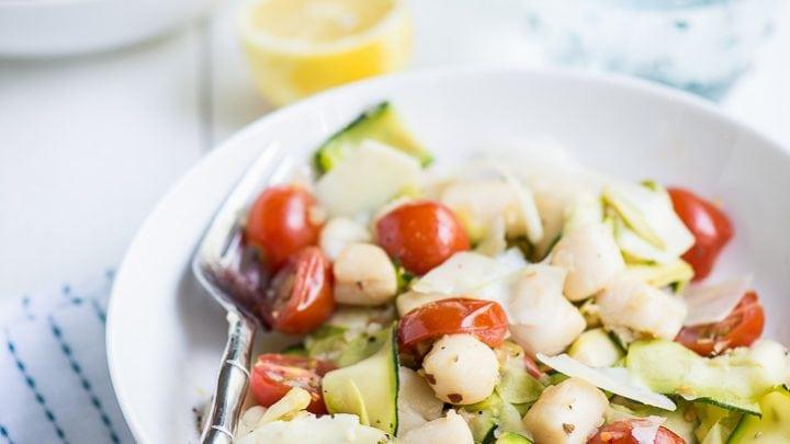 Warm Bay Scallop Salad with Zucchini, Asparagus and a Lemon Shallot Vinaigrette