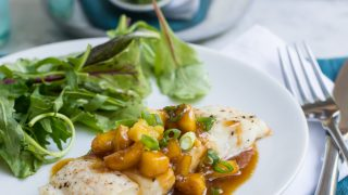 Halibut with Pineapple Soy Ginger Sauce