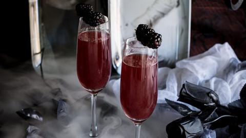 Bride of Frankenstein Cocktail (Vanilla Blackberry Champagne Cocktail)