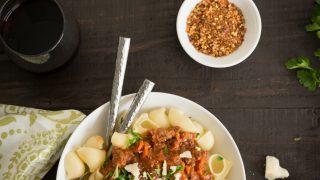 Spicy Buffalo Ragu over Pipe Rigate Pasta