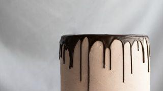 Chocolate Vanilla Tuxedo Cake with Raspberry White Chocolate Buttercream