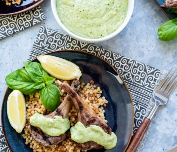 Magical Herb Tahini Grilled Lamb Chops with Israeli Couscous www.pineappleandcoconut.com