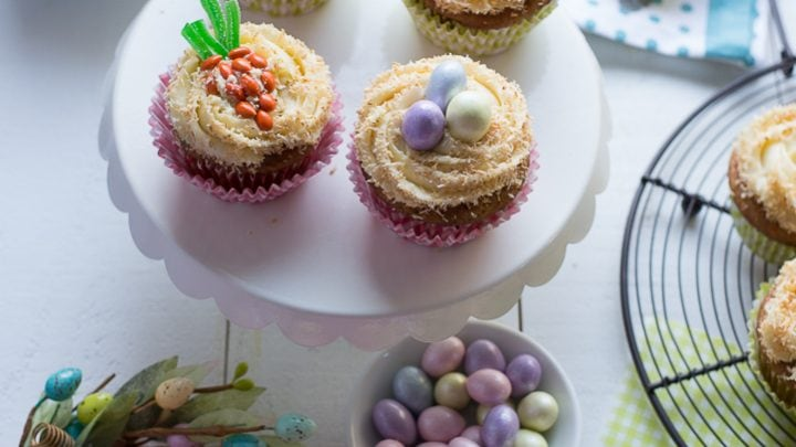 Easter Carrot Cupcakes with Maple Cream Cheese Frosting