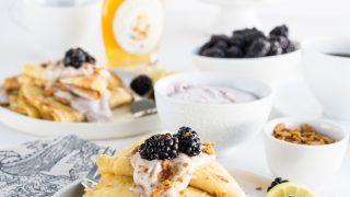 Lemon Ginger Crepes with Blackberry Whipped Cream