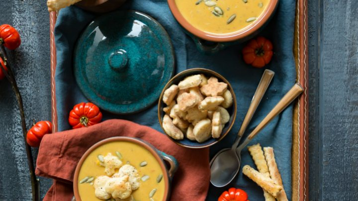 Creamy Pumpkin Chipotle Soup with Savory Pie Crust Croutons