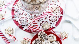 Dark Chocolate Swirled Peppermint Chip Meringue Cookies