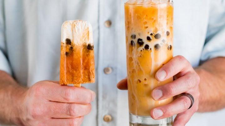 Boba Thai Iced Tea Popsicles