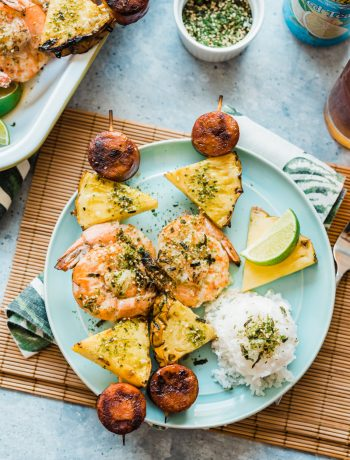 Polynesian Sausage and Shrimp Skewers www.pineappleandcoconut.com Inspired by Disneyland's Moana Skewers from Bengal BBQ