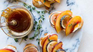 Fig Nectarine Crostini with Lemon Thyme Whipped Goat Cheese