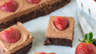 Chocolate Frosted Fudgy Brownies with Strawberries