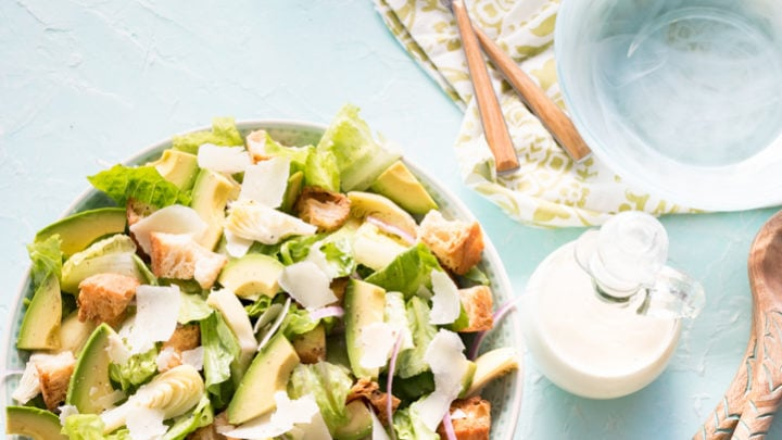 Avocado Caesar Salad with Avocado Oil Caesar Dressing