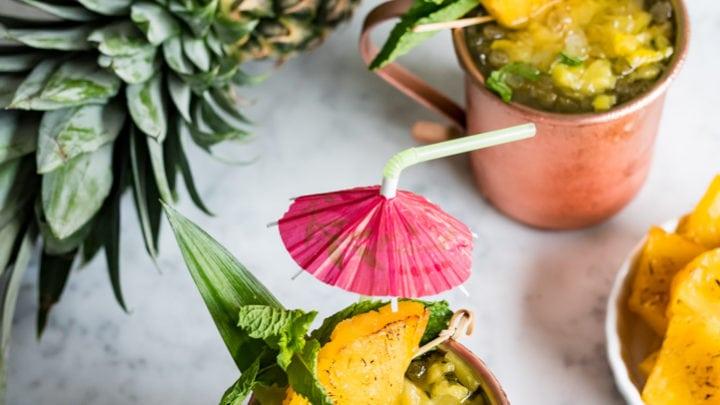 Roasted Pineapple Hawaiian Mule Cocktail