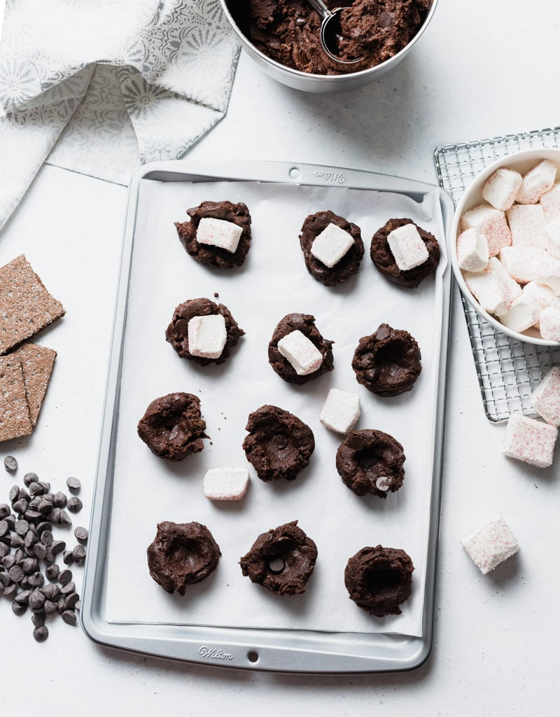 Chocolate Peppermint S'mores Cookies Prep pic www.pineappleandcoconut.com