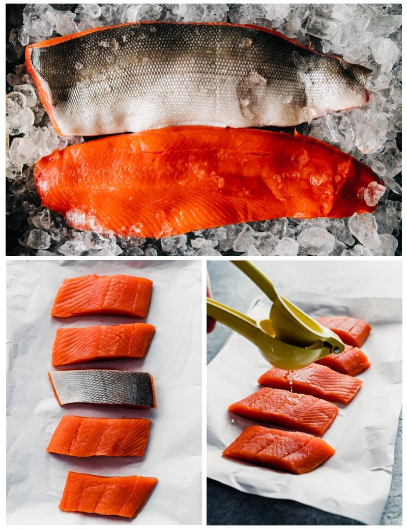 Prince William Sound Sockeye Salmon Prep collage images one with two fillets halves, one with five fillet slices, one with 5 fillet slices at an angle with lemon juice being squeezed over them