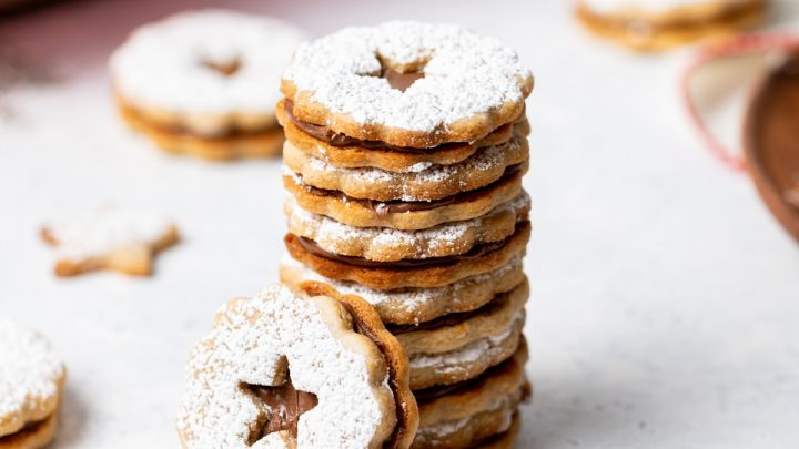 Almond Chocolate Cinnamon Linzer Cookies
