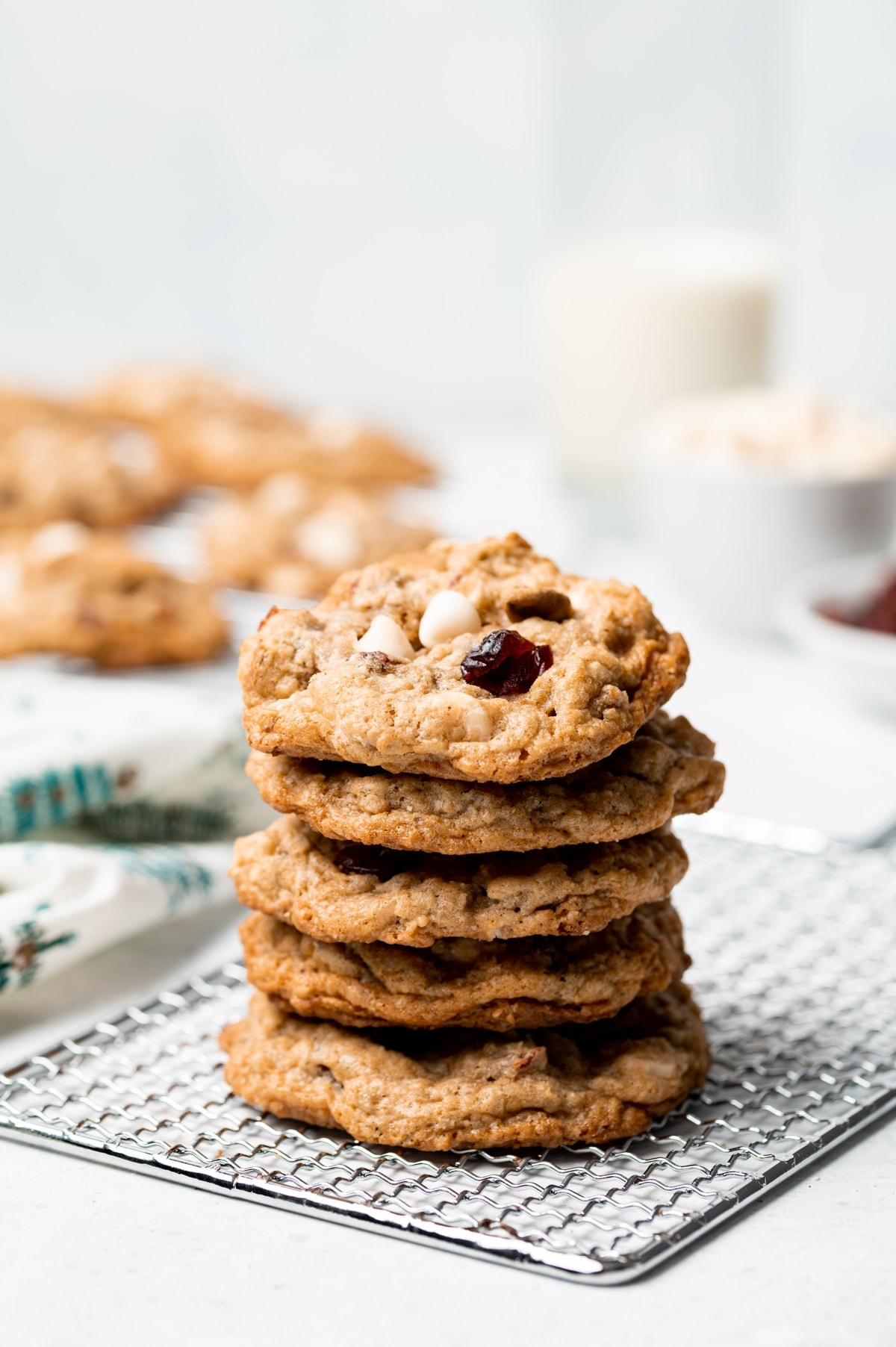 stack of oatmeal cookies on a wire rack