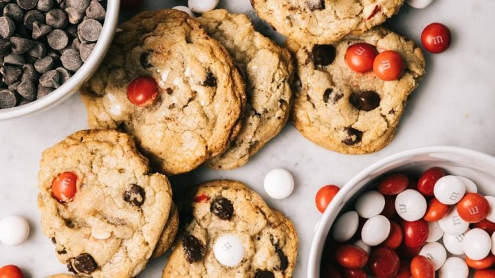 Dark Chocolate Chip Peppermint M&M Cookies