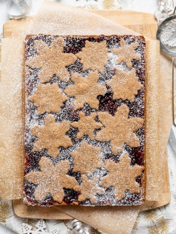 Mixed Berry Snowflake Linzer Torte Bars 6