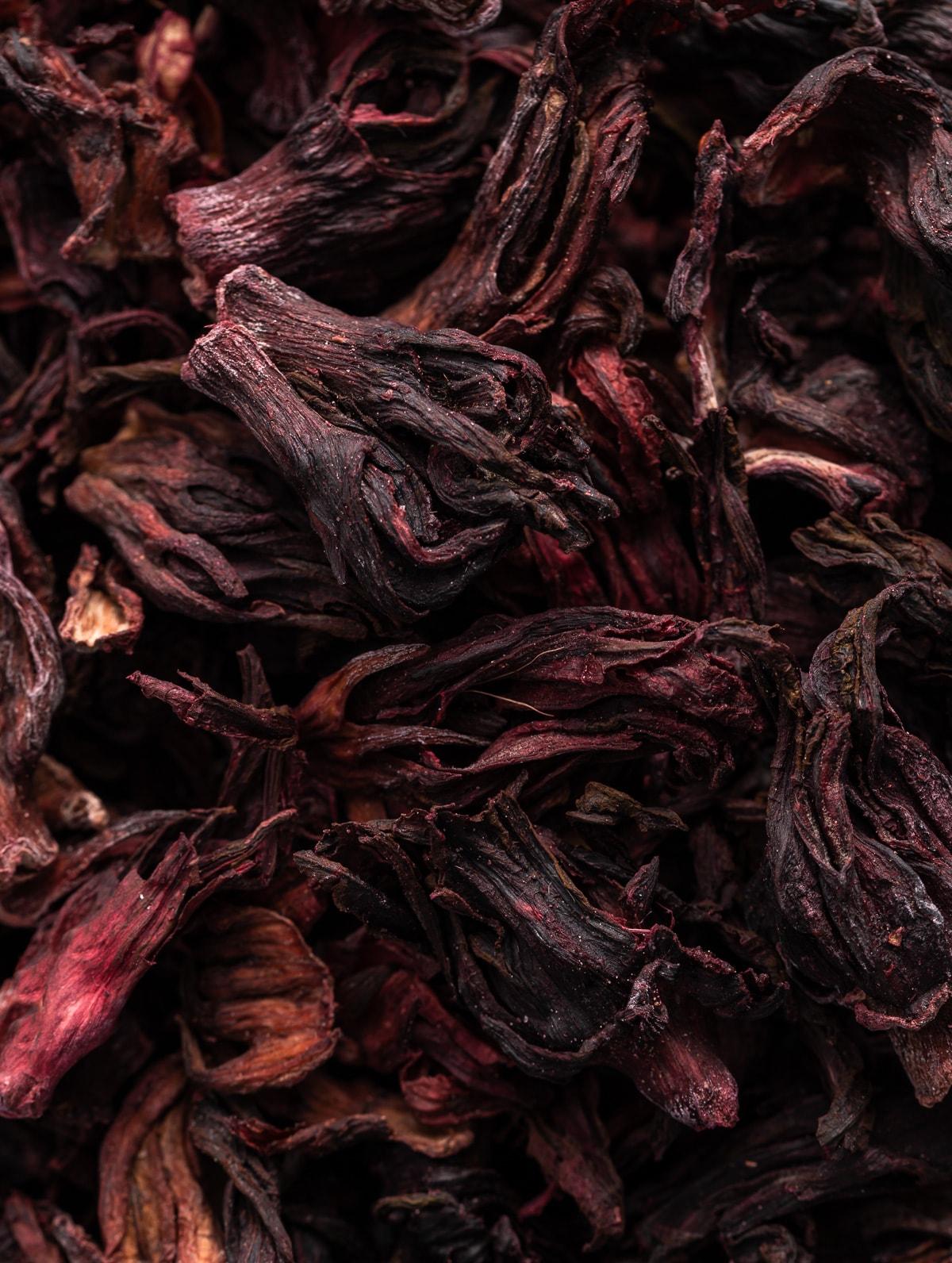 dark red dried hibiscus flowers