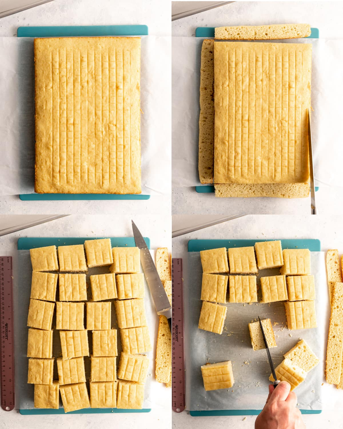 yellow sponge cake in different stages of being cut into squares