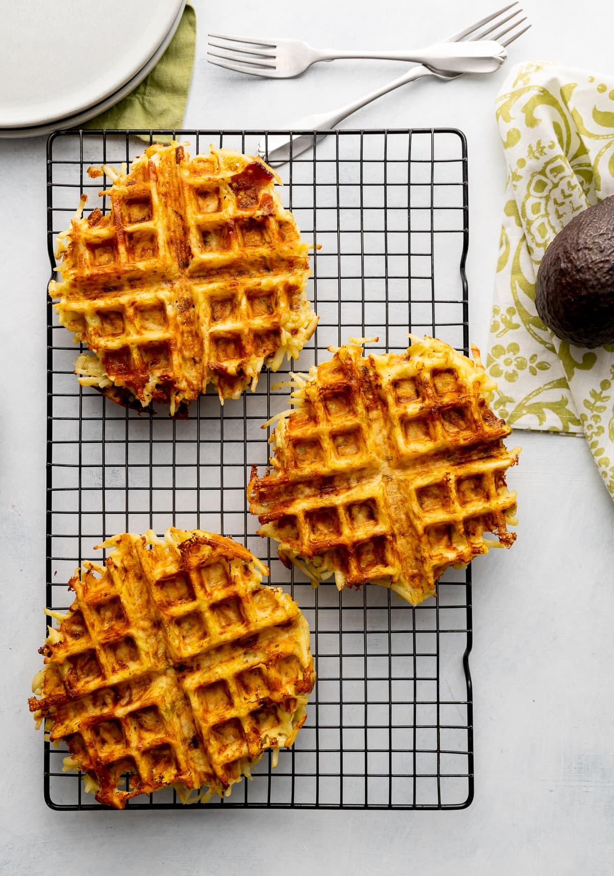 brown hash brown waffles on wire rack
